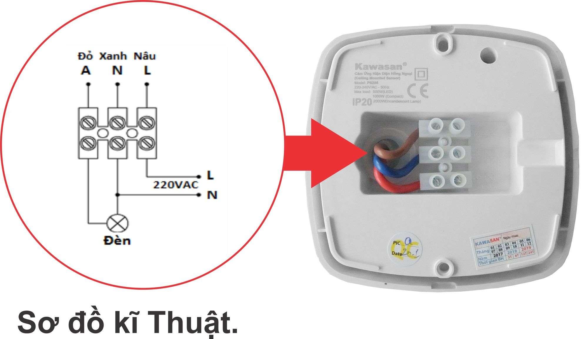 Sơ đồ nối dây của công tắc cảm biến PS286