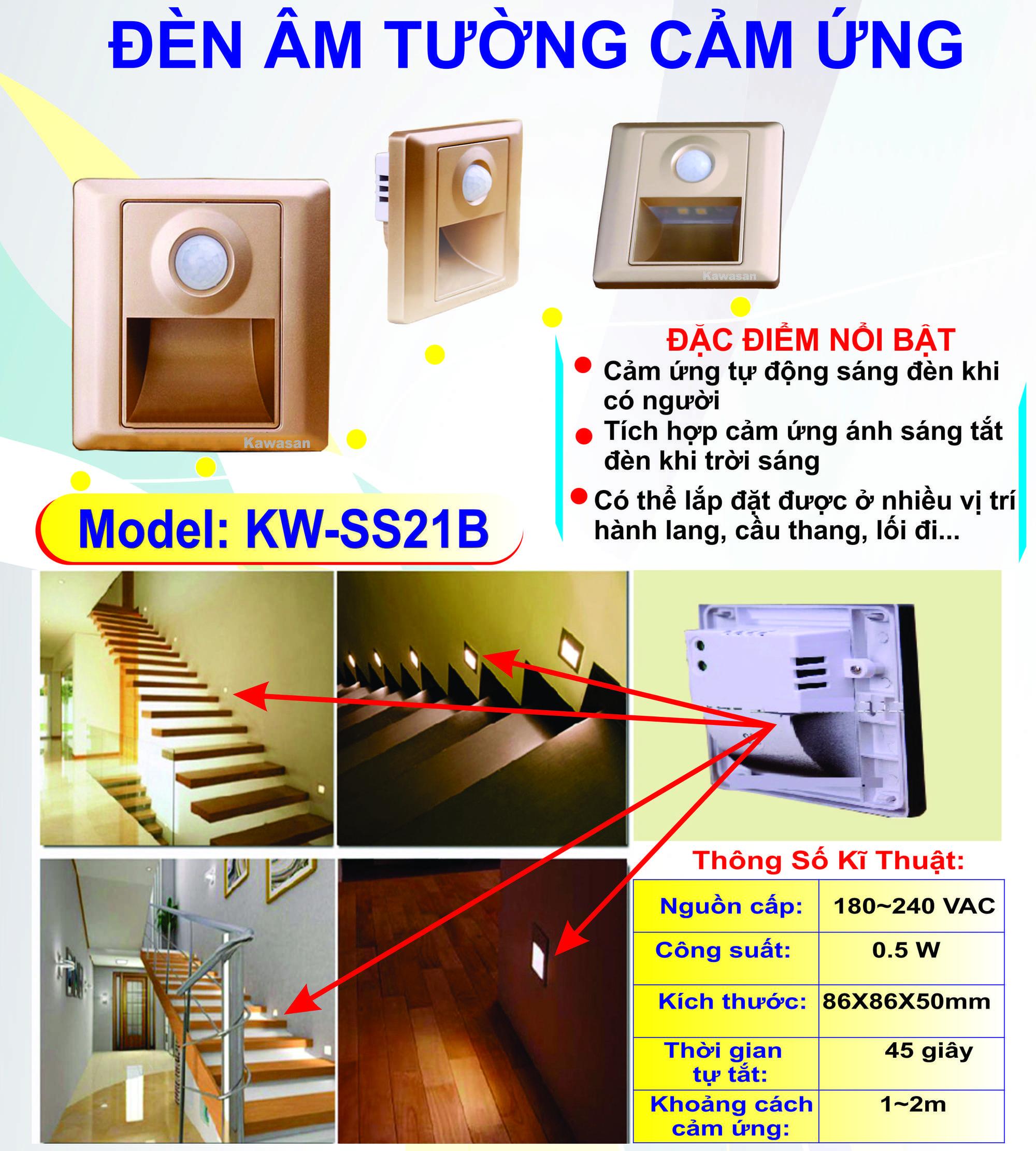 Đèn Led Cảm Ứng Âm Tường KW-SS21B