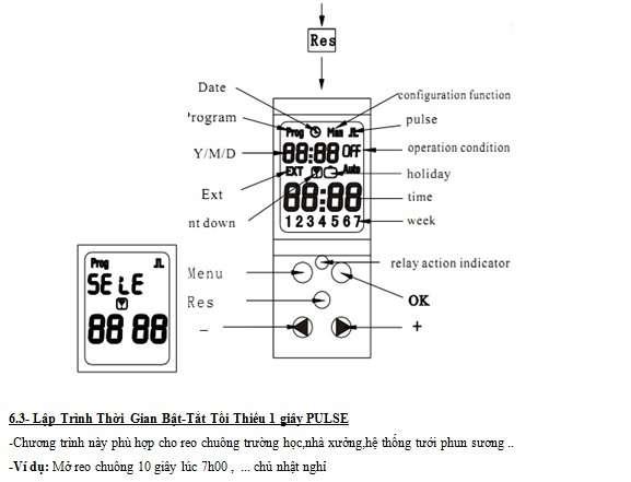TS601 thiết bị hẹn giờ thanh ray