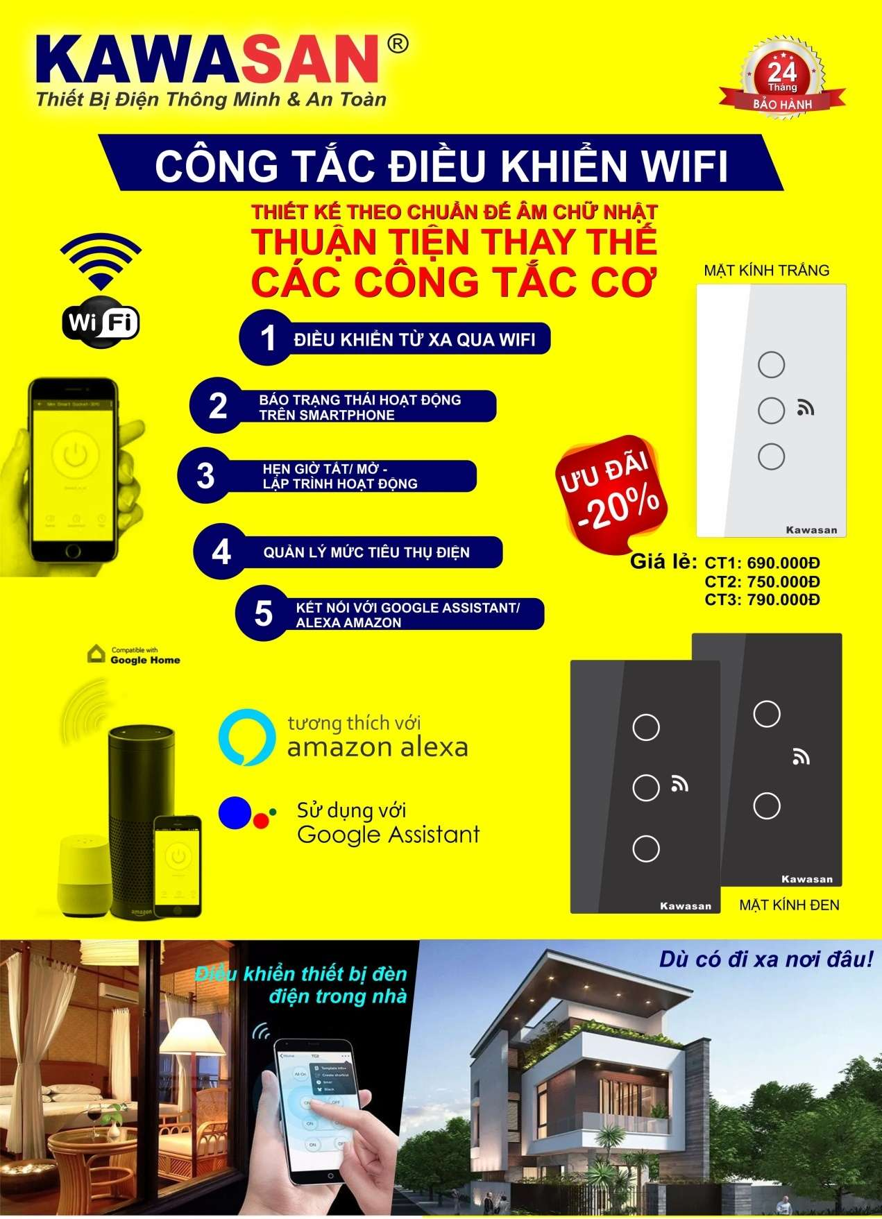 Công tắc cảm ứng chạm - điều khiển bằng wifi kawasan